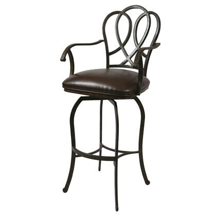 Pastel Furniture QLOX217 Oxford Bar Height Swivel Barstool With Arms in Brown