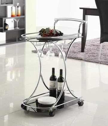 "Coaster Kitchen Carts 26.5"" Serving Cart with 2 Tempered Glass Shelves, Wine Bottle Rack, Stemware Rack, Metal Accents and Casters in"