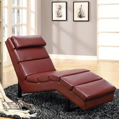 Monarch I8909 Contemporary Faux Leather Chaise Lounge