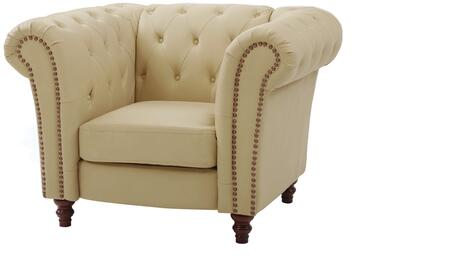 Glory Furniture G752C Faux Leather Armchair with Wood Frame in Beige