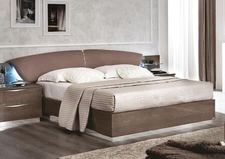 ESF Platinum Collection Bed with Eco-Leather Headboard, Vertical Center Swarovski Insert, Made in Italy and Wood Construction