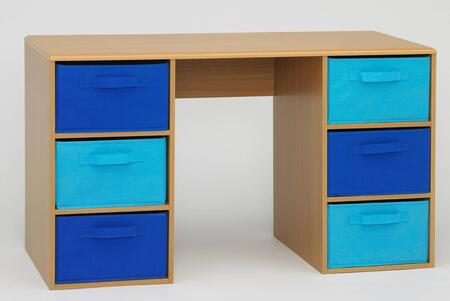 "4D Concepts 12X34 48"" Student Desk with 6 Large Canvas Style Drawers and Shaped Top with Rounded Edges in"