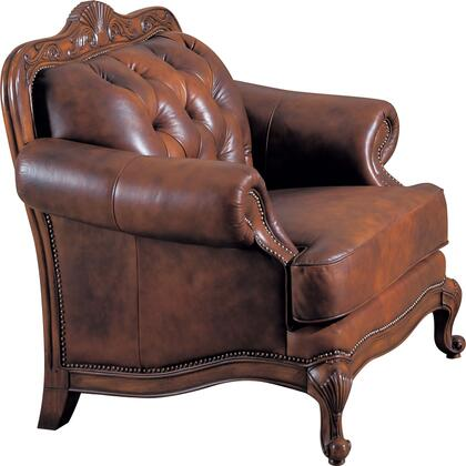Coaster 500683 Victoria Classic Series Leather Armchair with Wood Frame in Tri-Tone