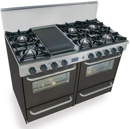 "FiveStar TPN5107 48"" Freestanding Gas-Liquid Propane Range With 6 Open Burners, Two 2.92 Cu. Ft. Manual Clean Ovens, Manual Broiler Drawer, Double Sided Grill/Griddle, 120 Volts, 5 Amps, In"