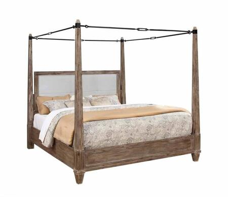 Donny Osmond Home Madeleine Collection 203541 Canopy Bed with Metal Turn Buckle Frame, Tapered Legs, Solid Acacia Wood and Acacia Veneer Materials in Smoky Acacia Finish