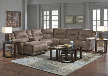 "Catnapper Montgomery Collection 1752-9-4-8-4-7- 142"" 6-Piece Sectional with Left Arm Facing Chaise, Console, 2x Armless Chairs, Corner Wedge and Right Arm Facing Recliner in"