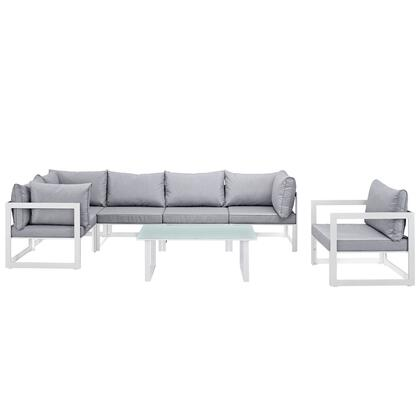 Modway Fortuna Collection EEI-1733- 7-Piece Outdoor Patio Sectional Sofa Set with Coffee Table, Single Sofa, 3 Corner Sections and 2 Center Sections in