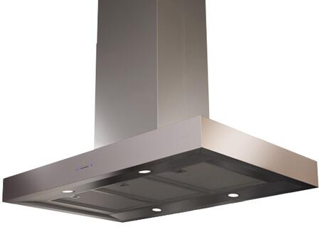 """Zephyr ZRMExCS XX"""" Essentials Europa Series Roma Island Mount Chimney Range Hood with 600 CFM Internal Blower, ACT Internal Blower, ICON Touch Controls, Dual Level Lighting and 5 Min Delay-Off, in Stainless Steel"""