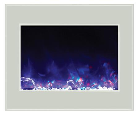 Amantii ZECL- Zero Clearance Electric Fireplace with 4 Stage Internal Back Lighting, LED Light Technology, Hardwire Ready and Flame Operates With or Without Heat in White Glass Surround