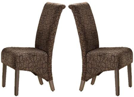 Monarch I 178 Set of Two Fabric Parson Chairs, with Padded Seat and Back, Cappuccino Stained Legs, and Swirl Pattern Upholstery