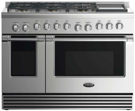 "DCS RDV2486GD 48"" Dual Fuel Range with 6 Sealed Dual Flow Burners, Griddle, 4.8 Cu. Ft. Main Oven Capacity, 2 Cu. Ft. Secondary Oven Capacity, 5 Shelf Positions, and 6 Oven Functions: Stainless Steel"