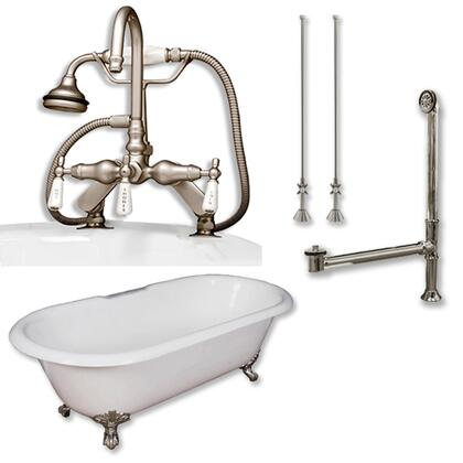"""Cambridge DE60684DPKGXX7DH Cast Iron Double Ended Clawfoot Tub 60"""" x 30"""" with 7"""" Deck Mount Faucet Drillings and English Telephone Style Faucet Complete Plumbing Package"""