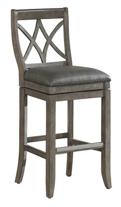 American Heritage 1111XX Hadley Series Stool with Glacier Finished Wooden Frame and Bonded Leather Upholstery in Charcoal