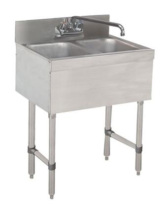 "Advance Tabco 22C-X Lite Series Two-Compartment Underbar Sink with 4"" Backsplash and 6"" Splash Mounted Faucet in Stainless Steel"