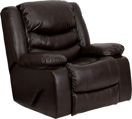 Flash Furniture MENDSC01078BRNGG Contemporary Bonded Leather Wood Frame Rocking Recliners