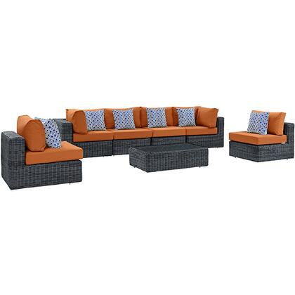 Modway Summon Collection EEI-2392- 7-Piece Outdoor Patio Sunbrella Sectional Set with 2 Corner Sections, 4 Armless Sections and Coffee Table in