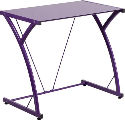 """Flash Furniture 28.5"""" Computer Desk with Tempered Glass Top, Plastic Floor Glides, Supportive Braces and Powder Coated Frame Finish in"""