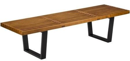 EdgeMod Slat Collection 5' Bench with Solid Wood Legs and Rubber Wood Slats Seat