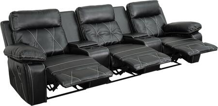 Flash Furniture BT705303GG Real Comfort Series 3-Seat Reclining Leather Theater Seating Unit with Straight Cup Holders