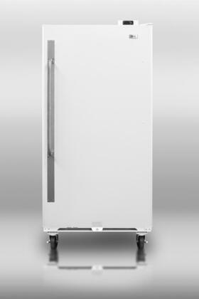 """Summit SCUF1X 34"""" Medical Use Freezer with 16.7 cu. ft. Capacity, Front Mounted Lock, Digital Thermostat, Adjustable Shelves,  Commercially Approved, and 6"""" Casters in White: X Hinge"""