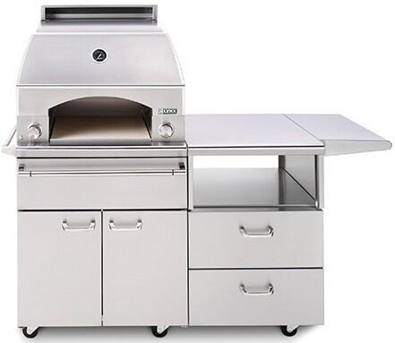 "Lynx LPZAF Professional Series 30"" Napoli Pizza Oven with 54"" Cart, 400 sq. in. Cooking Surface, Variable Infrared Heating System and Blue LED Knob Light, in Stainless Steel:"