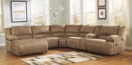 Signature Design by Ashley Hogan 578026PCSECX 6-Piece Sectional Sofa with X Arm Press Back Chaise, Armless Chair, Wedge, Console, Armless  Zero Wall Recliner and X Arm Zero Wall Recliner in Mocha