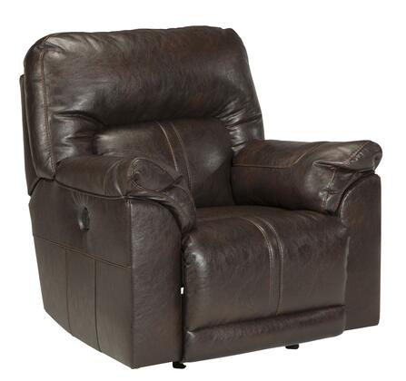 Benchcraft Barrettsville Durablend 47301REC Rocker Recliner with Thick Divided Back Cushion, Plush Padded Arms and Sauvage Effect on Upholstery in Chocolate