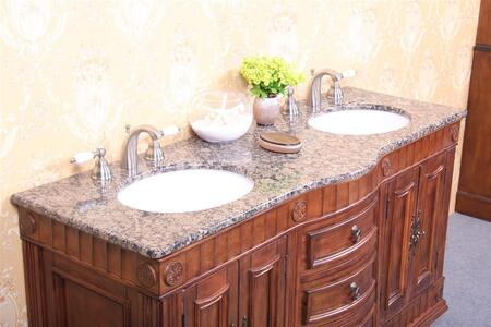 Legion Furniture WP5408-XX-61-D 61in. Granite, Backsplash and Cupc Sinks