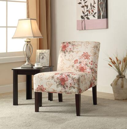"Acme Furniture Riston 30"" Accent Chair with Espresso Tapered Legs, Floral Pattern and Fabric Upholstery"