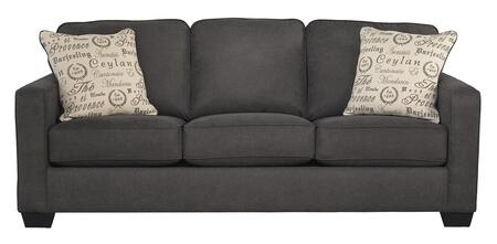 Signature Design by Ashley 1660X38 Alenya Sofa with 2 Print Patterned Pillows, Sleek Track Arms and Boxed Cushions in