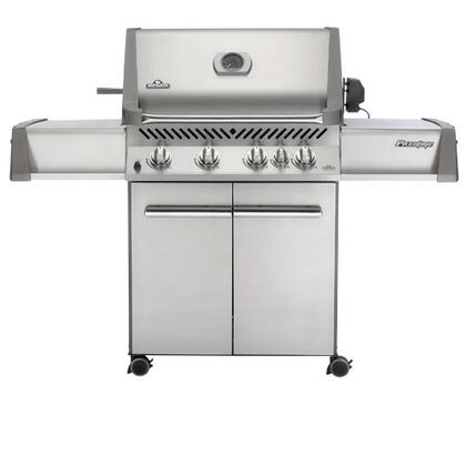"""Napoleon Prestige Pro 500 Series PRO500RBXSS 67"""" Freestanding Gas Grill With 760 Sq. In. Total Cooking Surface, 66,000 Total BTU, 4 Commercial Grade Tube Burners, Rear Burner, In Stainless Steel"""