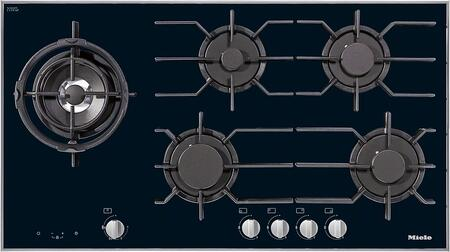 """Miele KM3054x 36"""" Gas Glass Cooktop with 5 Sealed Burners, GasStop and ReStart Safety, Dishwasher Safe Grates and Electronic Ignition, in Black"""