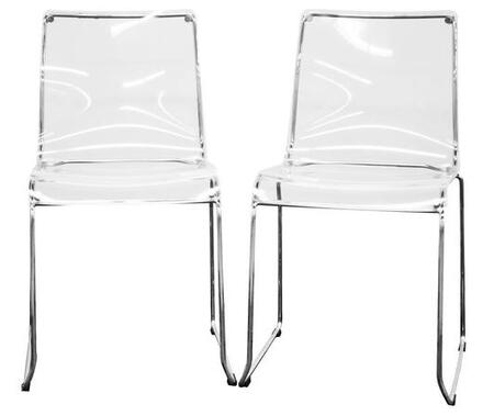 Wholesale Interiors CC53TCLEAR Lino Series  Dining Room Chair