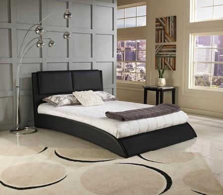 Rest Rite Arcardia HC8944Ax X Size Leather Upholstered Platform Bed with Modern Style, Raised Padded Headboard and Wood Construction in Black