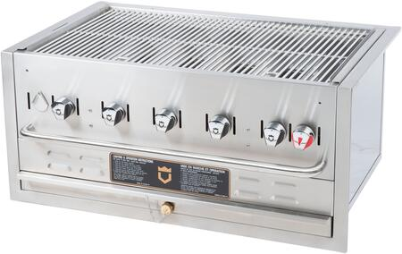 """Crown Verity CV-BI-36XX 38.5"""" Wide Built In X Grill with 5 Burners, 79,500 BTU/H, Stainless Steel Pilot Burner Tube System and Water Pan with Drain Port in Stainless Steel"""