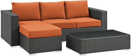 Modway Sojourn Collection 3 PC Outdoor Patio Sectional Set with Sunbrella  Fabric, Synthetic Rattan Weave, Powder Coated Aluminum Frame, Water and UV Resistant in