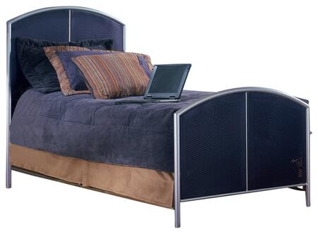 Hillsdale Furniture 1177 Brayden Bed with Polished Metal Legs, Room for Underbed Storage and Heavy Gauge Steel Construction in Silver and Navy