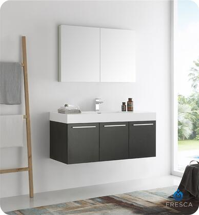 "Fresca Vista Collection FVN8092 48"" Wall Hung Modern Bathroom Vanity with Medicine Cabinet, 3 Soft Closing Doors and Integrated Acrylic Countertop and Sink in"