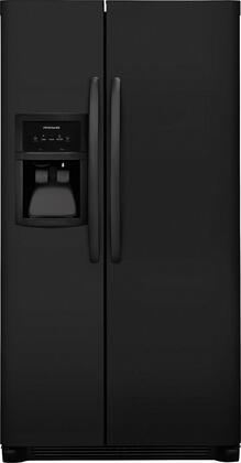 "Frigidaire FFSS2625T 36"" Side-by-Side Refrigerator with 25.5 cu. ft. Capacity, LED Lighting, External Ice and Water Dispenser, 2 Store-More Glass Shelves, 2 Wire Freezer Shelves, and Automatic Ice Maker, in"