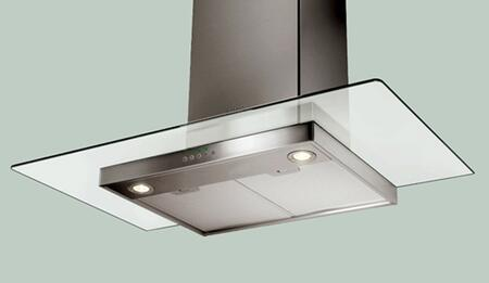 """Faber Decorative Glassy GLAS3XSS XX"""" Chimney Wall-Mount Hood With 600 CFM Internal Blower, 3-Speed Blue LED Push Button Controls, 10 Minute Intensive Speed, Mesh Filters, In Stainless Steel"""