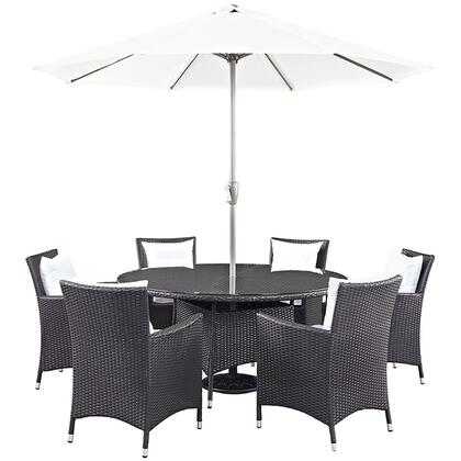 Modway Convene Collection 8 PC Outdoor Patio Dining Set with Synthetic Rattan Weave Material, Powder Coated Aluminum Frame and All-Weather Fabric Cushions in Espresso Color