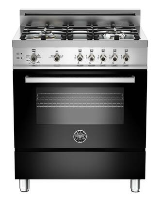"Bertazzoni PRO304GASNE 30"" Professional Series Gas Freestanding Range with Sealed Burner Cooktop, 3.6 cu. ft. Primary Oven Capacity, Storage in Black"