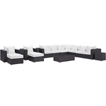 Modway Convene Collection 11 PC Outdoor Patio Sectional Set with Powder Coated Aluminum Frame, UV Resistant, Weimas Fabric Outer Cover and Synthetic Rattan Weave in Espresso Mocha Color