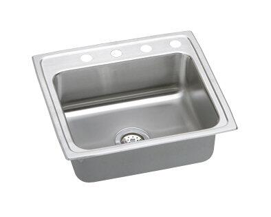 "Elkay LR2521 25"" Top Mount Self-Rim Single Bowl 18-Gauge Stainless Steel Sink"