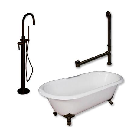 """Cambridge DE67150PKG Cast Iron Double Ended Clawfoot Tub 67"""" x 30"""" with no Faucet Drillings and Complete Modern Freestanding Tub Filler with Hand Held Shower Assembly Plumbing Package"""
