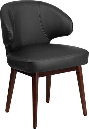 """Flash Furniture BT 34"""" Lounge Chair with Walnut Beechwood Frame, Adjustable Floor Glides and LeatherSoft Upholstery in"""
