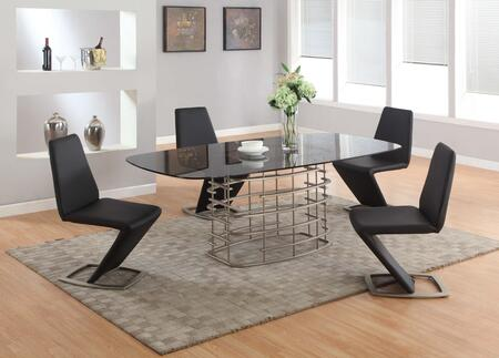 """Chintaly ABBY-5PC ABBY DINING 5pc Set - Grey Tempered Smoke Racetrack-Oval Glass Table with 4 """"Z"""" Shaped Side Chairs"""