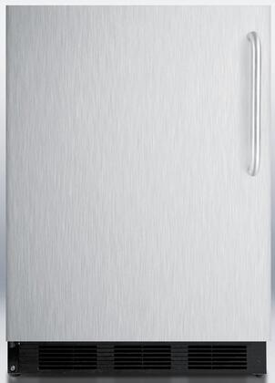 "Summit FF6BBIS 24"" 5.5 cu. ft. Undercounter Built-in Capable Compact Refrigerator, Automatic Defrost, Adjustable Glass Shelves, Adjustable Thermostat, 100% CFC Free: Stainless Steel"