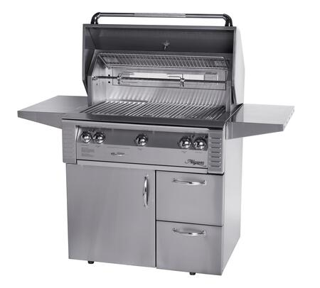 """Alfresco LX2 ALX2-36CD 36"""" Gas Grill on Deluxe Cart With 660 sq. in. Cooking Surface, 3 Stainless Steel Main Burners, Integrated Rotisserie Motor, High Intensity Halogen Work Lights, and 2 Access Drawers in"""