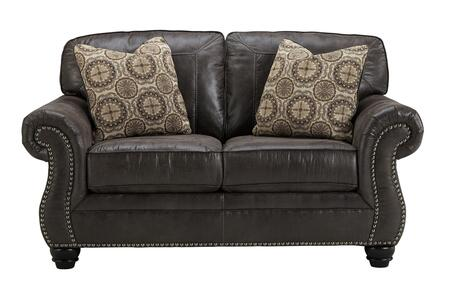 Benchcraft Breville 8000X35 Loveseat with 2 Patterned Toss Pillows, Reversible Coil Seating and Jumbo Stitching Details in